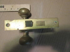 vintage e-z mortise privacy lock brass door knobs & back plates NO thumb turn
