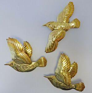 SET OF 3 Vintage 3D Hammered Metal Birds Brass/Copper Color Wall Decor Sculpture