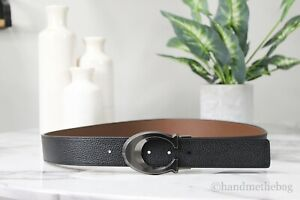 Coach Mens Signature Cut to Size Reversible Pebble/Smooth Leather Dress Belt
