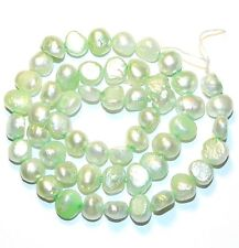"""NP280f Light Green 8mm Flat-Sided Potato Cultured Freshwater Pearl Beads 16"""""""