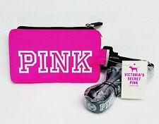 NEW Victoria's Secret Pink HOT PINK Lanyard ID Holder Case Sleeve Pouch School.