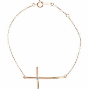 Imitation Blue Zircon Sideways Cross Bracelet In 14K Rose Gold