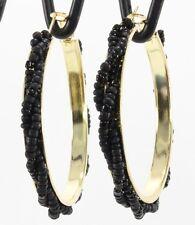 """Twisted seed bead hoops big gold black hoop earrings 2-1/8"""" classic Southwestern"""