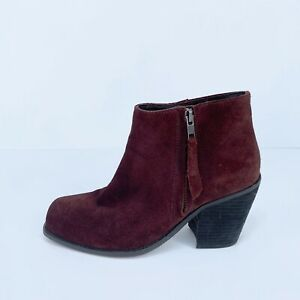 Wittner Suede Leather Burgundy Heeled Ankle Boots Size 39