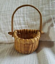 New ListingSmall Mini Half Round Wall / Table Nantucket Basket W Handle Natural Vintage