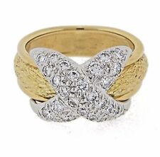 """Tiffany & Co. Schlumberger """"X"""" Pave Diamond Ring with Bark Style Shank"""