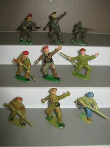 Charbens /timpo / Cherilea british berets 9 in 6 poses 1 GI G/cond paint loss