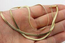 "14k yellow gold 24"" 3mm flat herringbone diamond-cut chain necklace 11.7g ITALY"