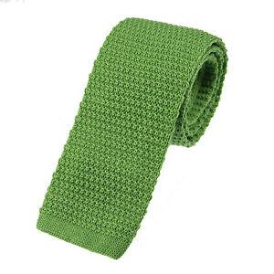Men's Plain Apple Green Knitted Wool Tie (U102/35)