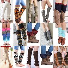 Women Ladies Winter Warm Leg Warmers Cable Knit Knitted Crochet Socks Leggings