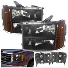07 08 09 10 11 12 13 GMC Sierra 1500-3500 Black Housing Replacement Headlights