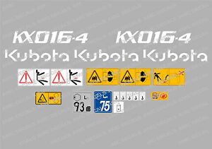 KUBOTA KX016-4 MINI DIGGER COMPLETE DECAL SET WITH SAFETY WARNING SIGNS