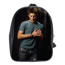 Jensen Ackles Supernatural Leather Backpack School Travel Notebook College Bags