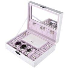 Women Leather Storage Case White Jewelry Watch Box Rings Bracelets Organizer
