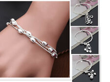 925 Sterling Silver plated Heart Charms Bracelet Beads Chain Ball Bangle Gift