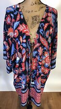 Red Blue Duster Kimono Cover Up By Loft Plus Size Xl