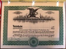 Stock certificate Intermountain Video Technical Productions, Inc. State of Utah