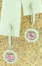 14k Solid White Gold Natural Diamond Pink Sapphire  Earrings 4.20 Grams dangling