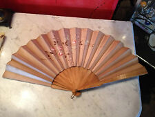Vintage Signed Wood & Fabric Fan w/ Painted Floral Decoration