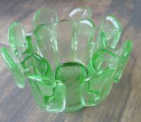 Vtg Viking Glass Finnish Vessel Crown Votive Candle Holder Green MSM