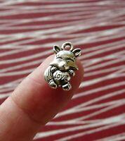 10Pcs Fox Pendant Love Charms for Bracelet Necklace Supplies Silver Tone