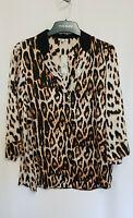River Island Women's Brown Leopard Print Button-up Shirt Size 16