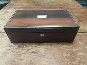 Antique Lap Desk Writing Slope Travel Brass Inlay Edges As Is