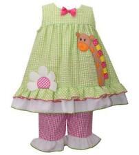 Girls size 2T Bonnie Jean Seersucker Giraffe Dress and Capri Set NWT