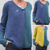Womens Casual Loose Long Sleeve Patchwork Cardigan Shirt Top Blouse Knit Sweater