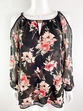 White House Black Market Sz S Black Floral Cold Shoulder Blouse Top