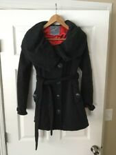 Knitted Dove Black Coat w/ Oversized Collar, Size Small