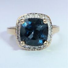 9ct Gold Square Cushion London Blue Topaz & Diamond Halo Ring, Size N