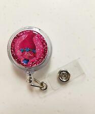 TROLLS * POPPY *  Retractable Badge Reel Holder, Glitter 3D Dome
