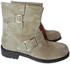 $1050 Jimmy Choo ANTELOPE Suede Biker YOUTH Short Motorcycle Boot Ankl Bootie 38