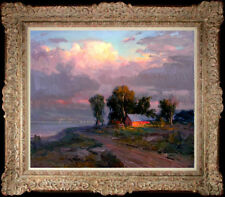 Hand-painted Original Oil painting art Impressionism landscape Sunset on Canvas