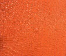 Orange Faux Embossed Crocodile Vinyl Upholstery Fabric-Sold By The Yard-54""