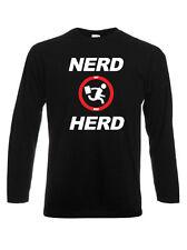 T-shirt manica lunga Nerd Herd, Buy More, Chuck, scegli colore e taglia