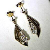 9ct 9k Yellow Gold Cubic Zirconia Drop Earrings