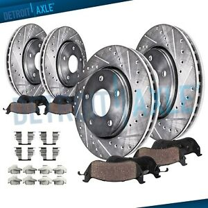 Drilled Brake Rotor + Brake Pad Toyota Tundra Sequoia Front Rear Brakes Pads Kit