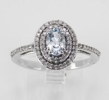 Aquamarine and Diamond Halo Engagement Ring White Gold Size 7 March Birthstone