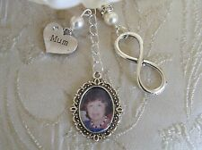Vintage Inspired Ivory Mum Infinity Memorial Bouquet Photo Charm/Bridal
