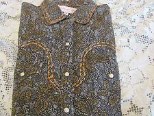 PANHANDLE SLIM BLOUSE WESTERN Pearl Snap Brown Cotton Long Sleeve