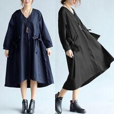 ZANZEA Women Oversized V Neck Vintage Bowknot Loose A-Line Midi Tunic Dress Tops