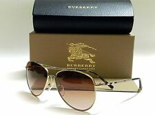 Authentic BURBERRY BE3072 114513 Gold Frame/Brown Lens 57mm Sunglasses