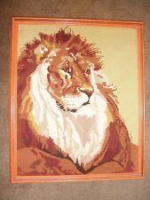 Vintage Needlepoint Lion Big Cat Close 21.5x18 Head Portait Animal Framed Decor