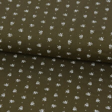 Baumwollstoff Trachten einzelne Blumen oliv grün weiß 1,50m Breite