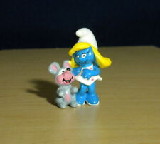Smurfs 20410 Smurfette & Mouse Smurf Squeaky Figure Vintage PVC Toy 90s Figurine