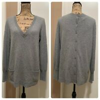 Neiman Marcus Womens Long Sleeve Crew Neck Cashmere Sweater Top Gray Size Large