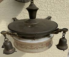 "Hanging chandelier antique 1920s ceiling globe 14"" retro motif bowl w satellites"