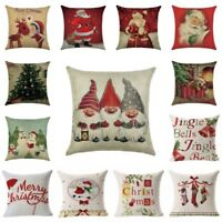 Christmas Pillow Case Cotton Linen Sofa Car Throw Cushion Cover Home Decor